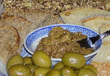 Pasta elias, a meze made from olives