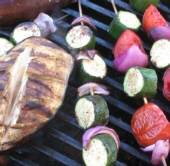 Summer vegetable skewers on the grill