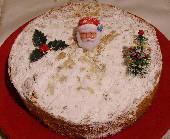 Vassilopita - Greek New Year's Cake with powdered sugar