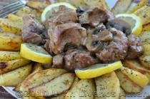 Braised Pork Roast with Mushrooms and Greek-style Oven Roasted Potatoes