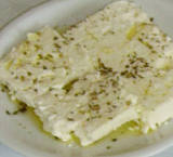 Feta cheese with oregano and olive oil