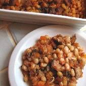 Greek Pork & Beans, made with Great Northern beans