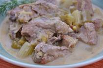 Pork Stew with Celery and Avgolemono Sauce