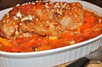 Pork Roast with Peppers, Tomatoes and Feta Cheese