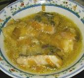 Poached Salt Cod with Leeks in Lemon Sauce