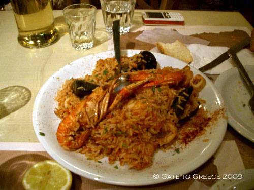 Rice with Shrimps and Mussels - Rizi tou psara