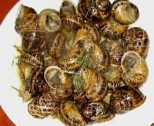 Popping fried snails with rosemary