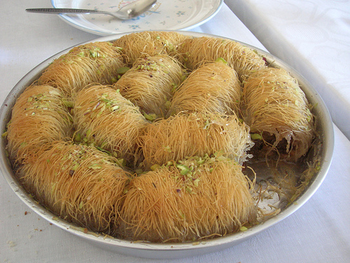 Traditional Kataifi with Walnuts - Paradosiako Kataifi me karidia