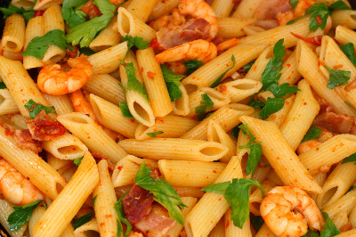 Shrimps With Pasta - Garides me Pasta