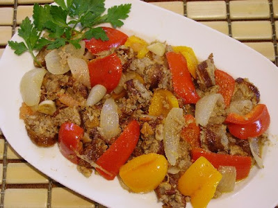 Country Sausage with Peppers and Tomato