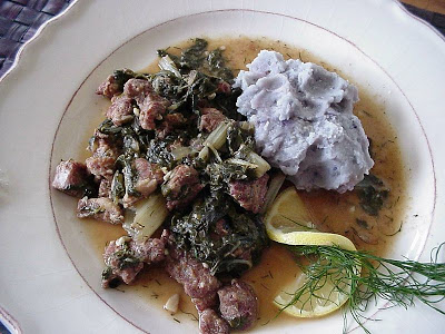 Lamb and Spinach in Egg and Lemon Sauce (Cretan)