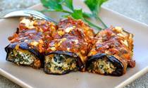 Grilled Eggplant Rolls Stuffed with Spinach and Feta Cheese