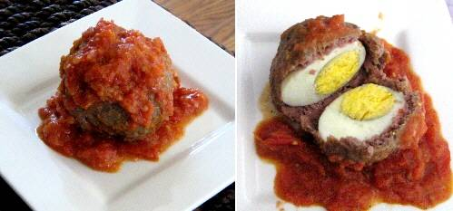 Mini Meatloaves with Eggs in Tomato Sauce