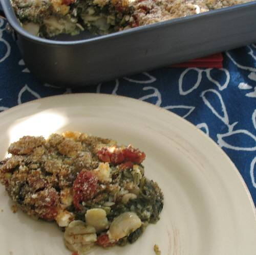 Spinach, Bean, and Feta Cheese Oven Casserole