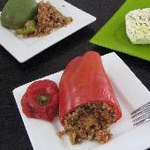 Stuffed Peppers with Bulgur & Basil - Piperies Yemistes me Pligouri