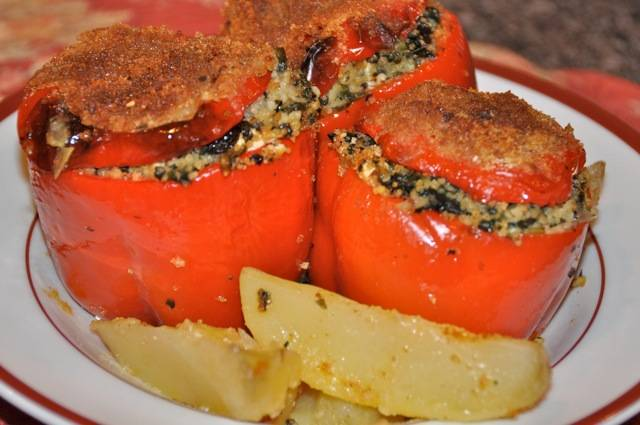 Stuffed Peppers with Couscous, Spinach, and Feta Cheese | Greek ...
